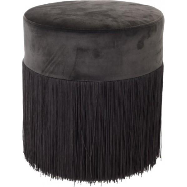 Пуф мягконабивной с бахромой на деревянном каркасе