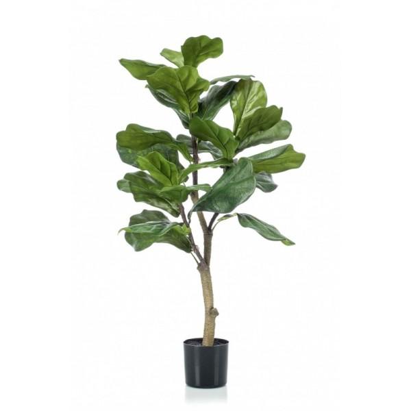 """Искусственное растение """"Фикус Лировидный"""", пластик, 90 см в горшке из пластика"""