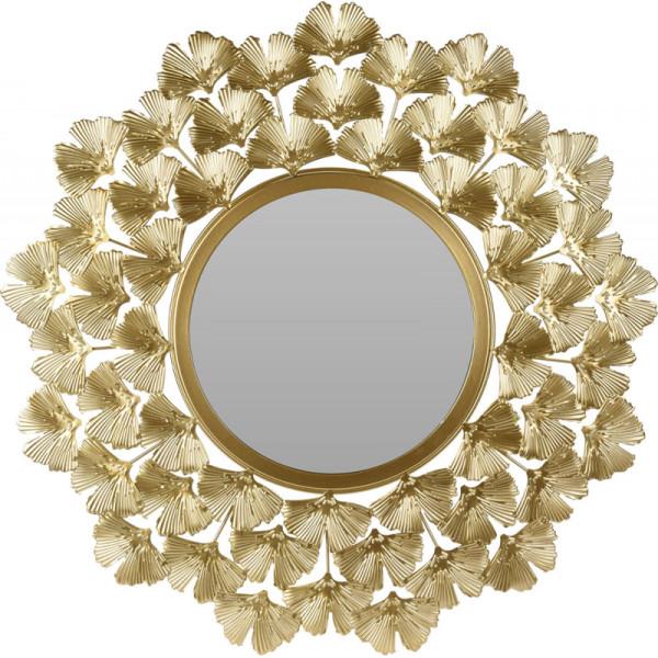 Зеркало настенное круглое в золотой раме из металла