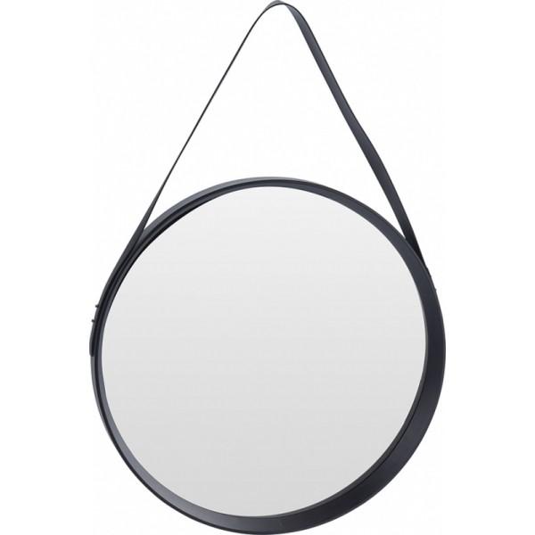 Зеркало настенное круглое в черной раме из пластика