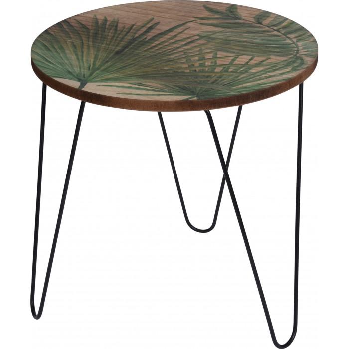 Декоративный столик из дерева с листьями пальмы