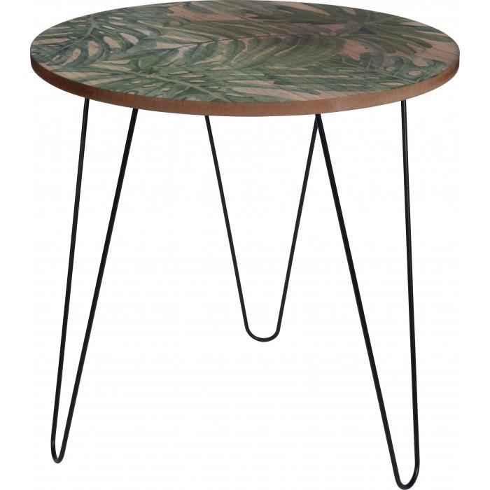 Декоративный столик из дерева с листьями монстеры