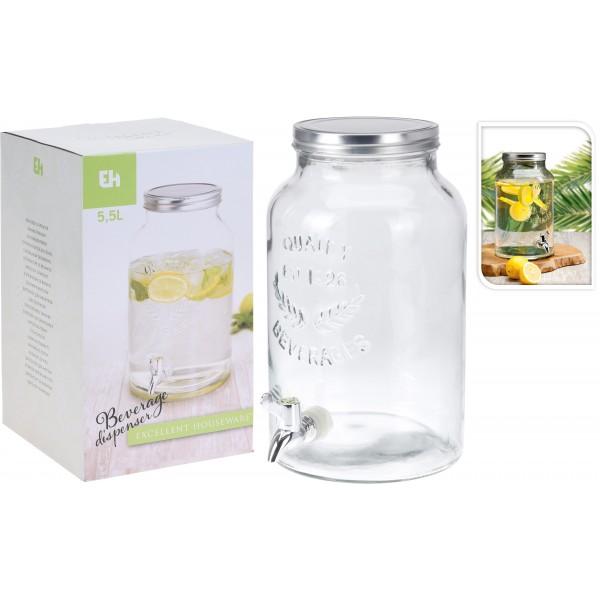 Кувшин для питья с краном-дозатором из стекла