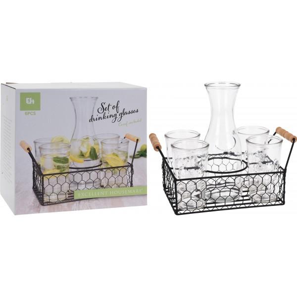 Набор сосудов для напитков из прозрачного стекла