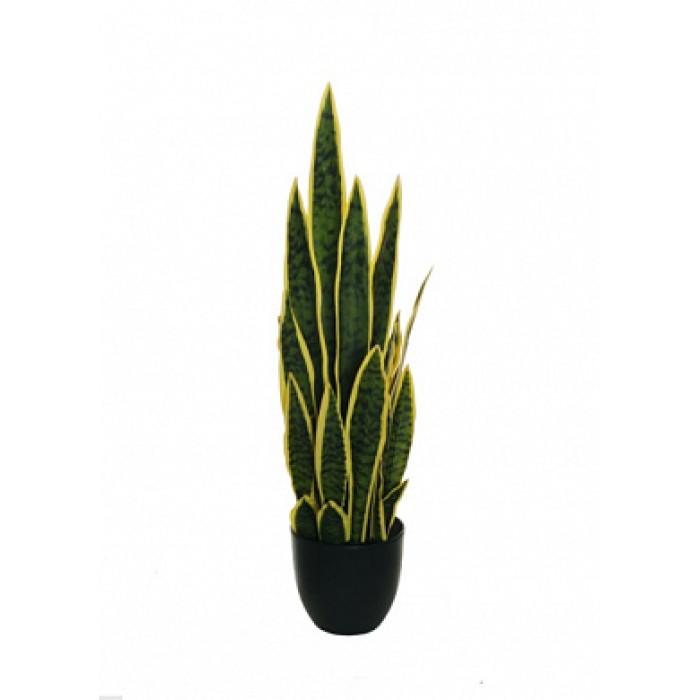 """Искусств.растение """"Сансевиерия"""" в горшке, 77 см, пластик, цвет зел.с желтым"""
