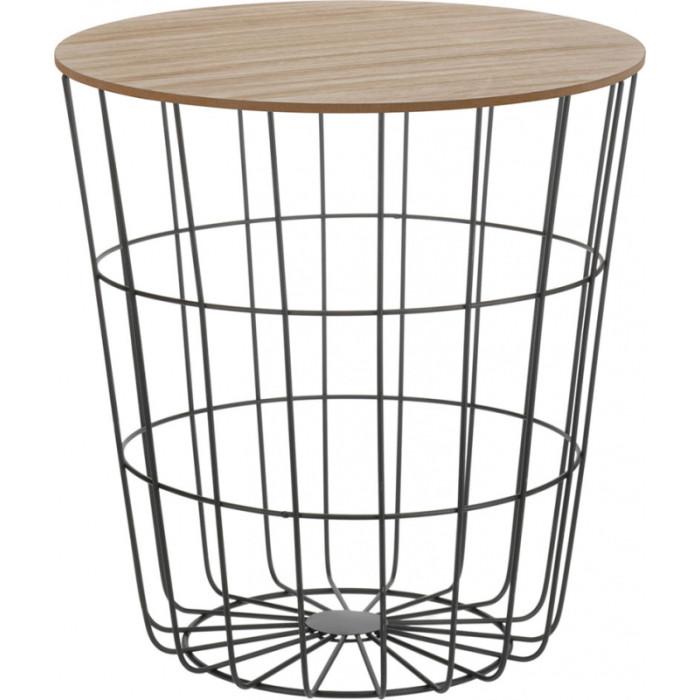 Стол журнальный с каркасом из металла и столешницей из дерева