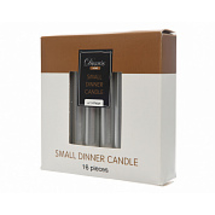 Набор свечей из воска д.1,3x10,5 см, (уп=16 шт), серебристый металлик